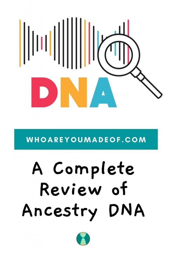 A complete review of ancestry dna pinterest image with dna and magnifying glass