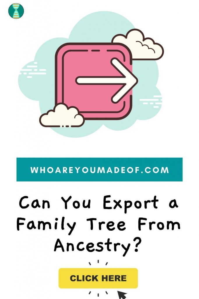 Can You Export a Family Tree From Ancestry?  Pinterest image with generic export graphic in the clouds