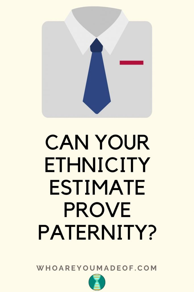 Can Your Ethnicity Estimate Prove Paternity pinterest image with shirt and tie graphic