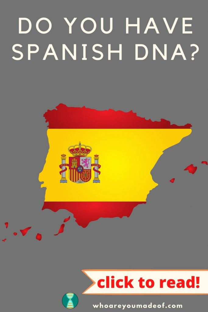 Do You Have Spanish DNA? Pinterest image with graphic of the country of Spain with Spanish flag