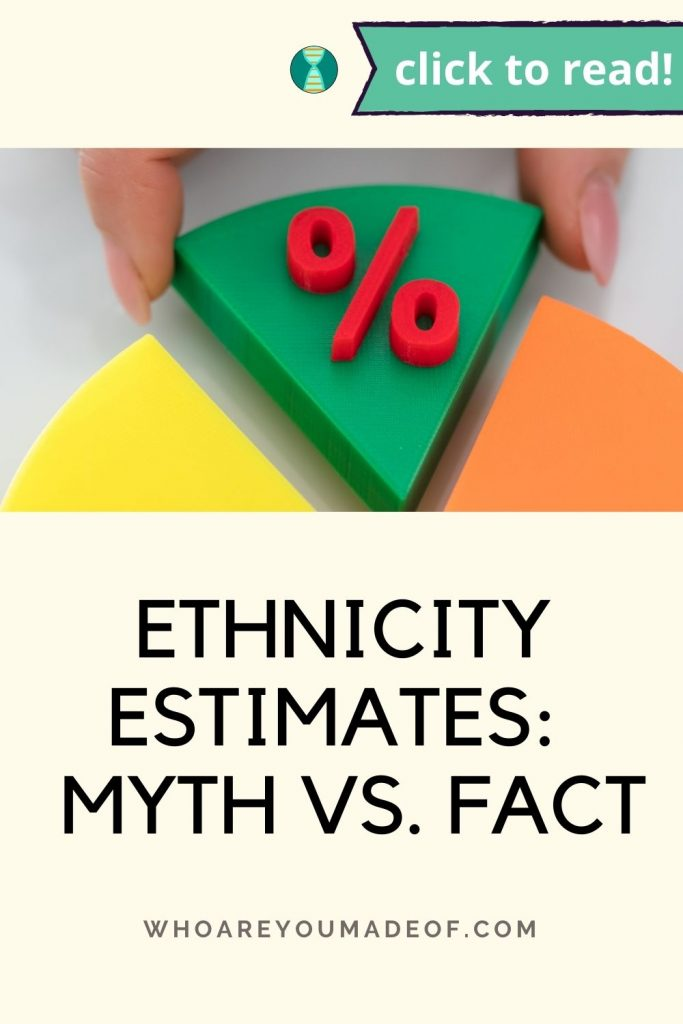 Ethnicity estimates: Myth vs fact Pinterest image with a hand pulling a piece of a pie out of a pie chart