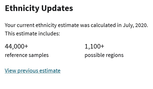 According to the latest Ancestry DNA, the most recent update includes data from 44000 reference samples and compares customers' DNA to more than 1100 regions