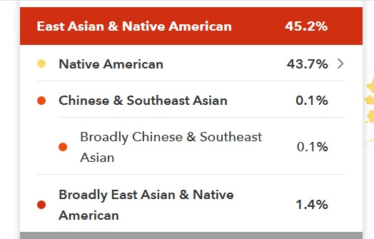 Example of Native American DNA on 23andMe