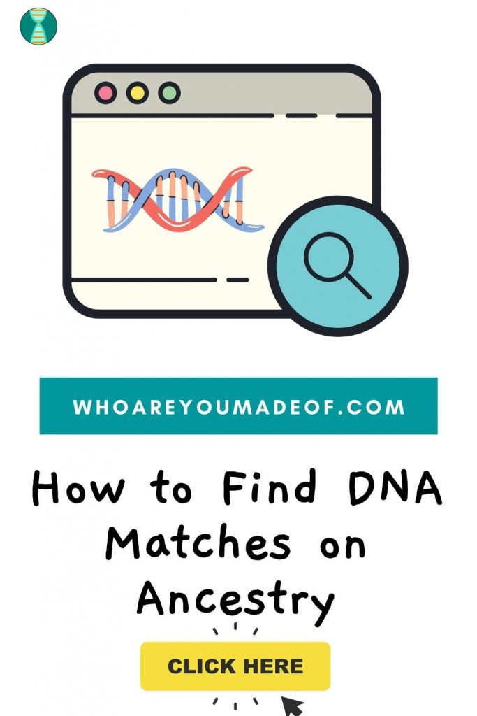 How to find dna matches on ancestry pinterest image with computer screen, search tool, and dna graphic