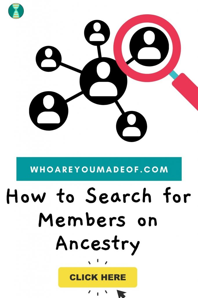 How to search for members on ancestry Pinterest image with graphic of people connected by a network and a magnifying glass