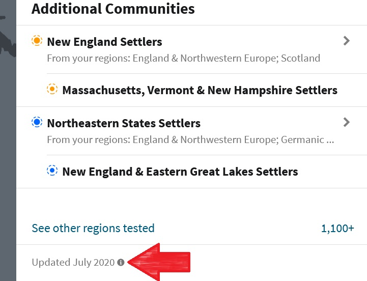 Screenshot of ethnicity estimate with updated date on the very botton