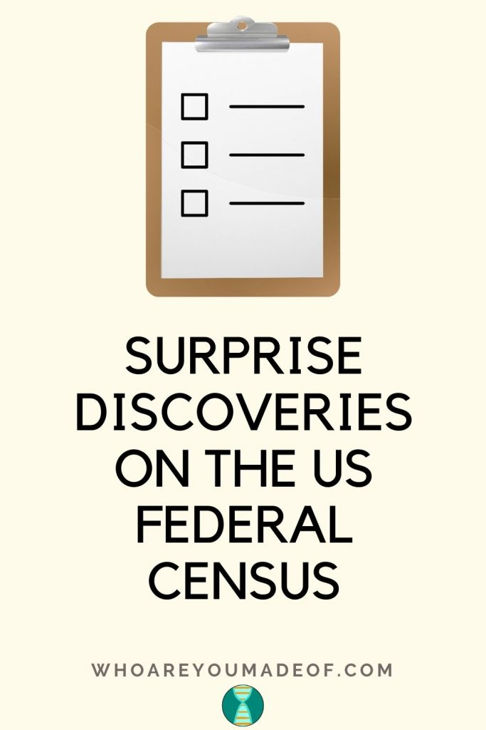 Surprise discoveries on the US federal census pinterest image with a clipboard with a list on it