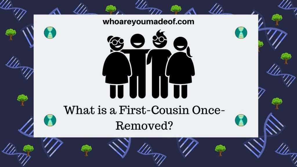 What is first cousin once-removed image with graphic of cousins together