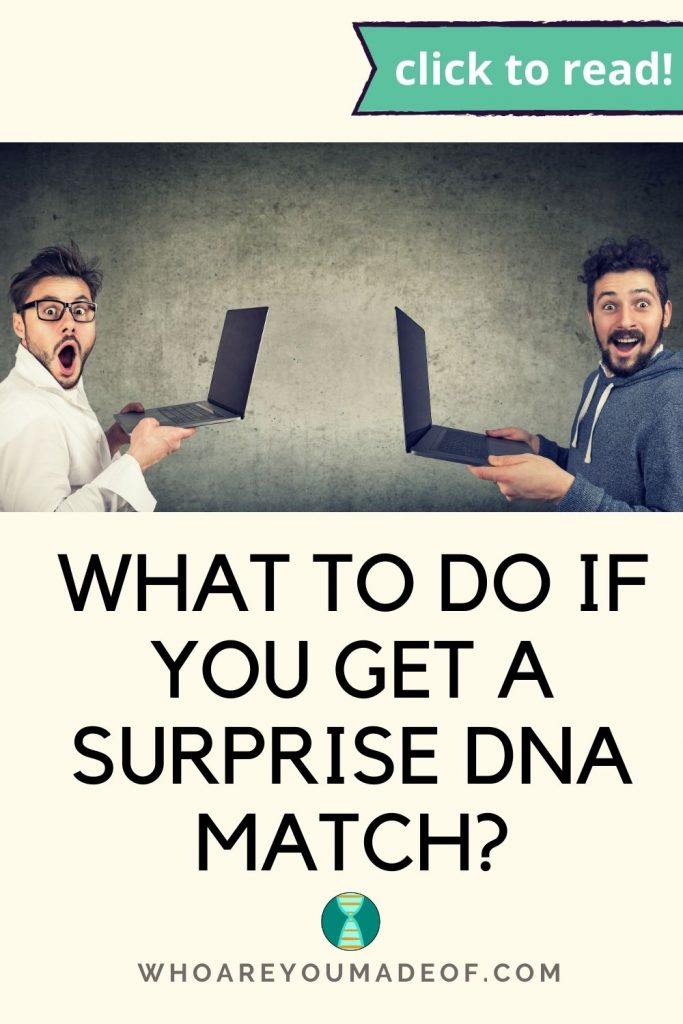 What to do if you get a surprise DNA match Pinterest image with two men holding their laptops with surprised expressions