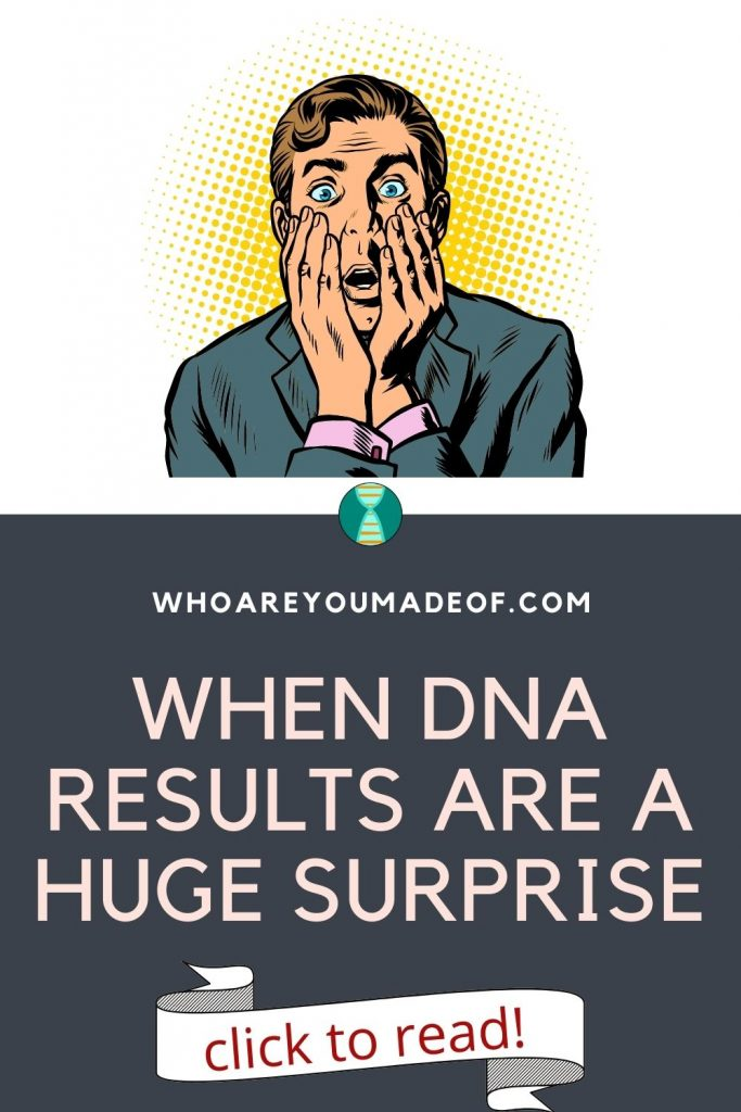 When DNA results are a huge surprise Pinterest image with graphic of surprised man