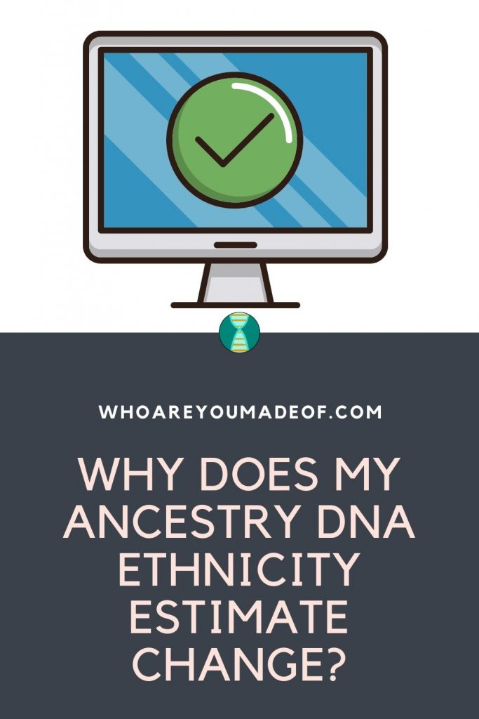 Why Does My Ancestry DNA Ethnicity Estimate Change? Pinterest image with computer icon and green checkmark