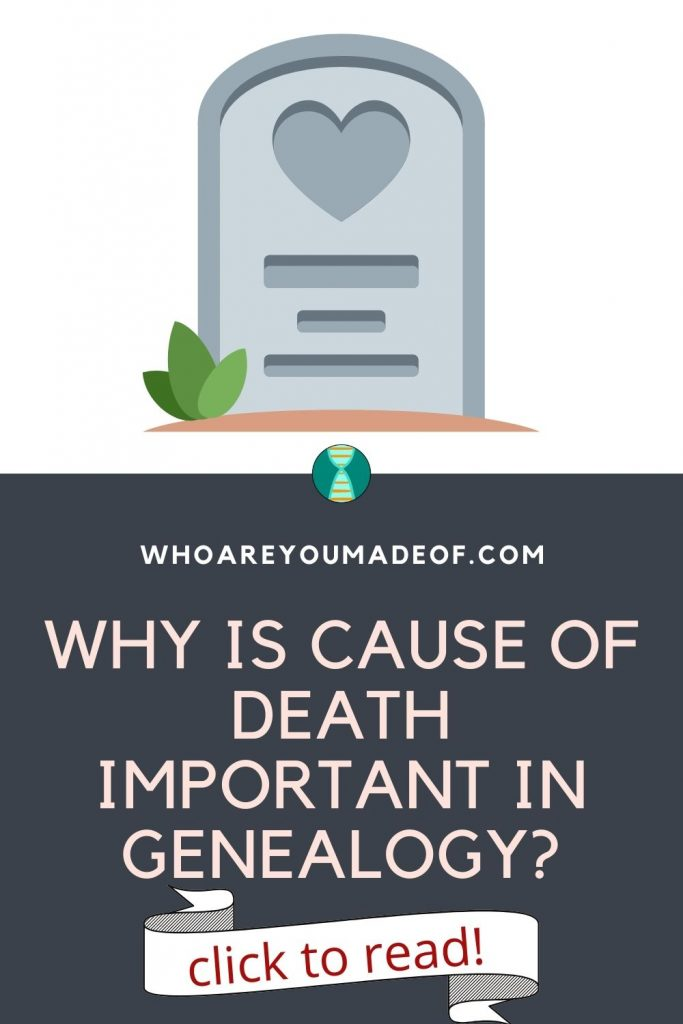 why is cause of death important in genealogy pinterest image with gravestone