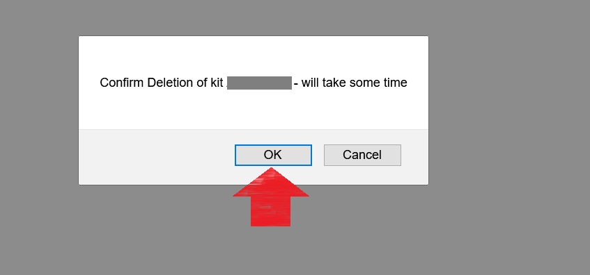 Click the OK button as shown in this image with a red arrow pointing to it to confirm that you would like to delete your DNA data from Gedmatch