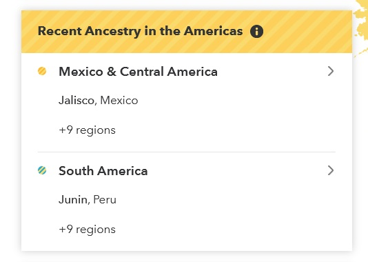 Example of Recent ancestry in the Americas results for Mexico on 23andMe