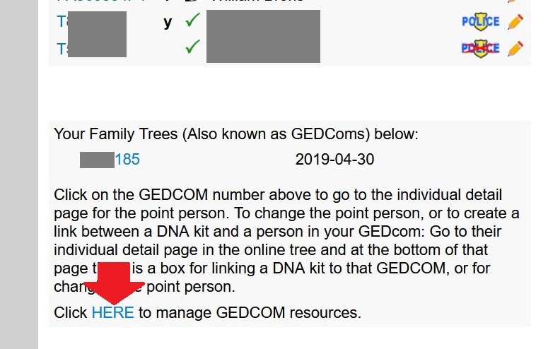 The red arrow points to the HERE link, which you should click on in order to delete your GEDCOM