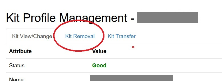This image shows where to click to find the kit removal feature on Gedmatch, it's located under the kit removal tab on the Gedmatch DNA kit settings page