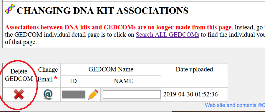 Click on the red arrow in the Delete Gedcom column next to the Gedcom that you would like to delete - in this image it is circled in red
