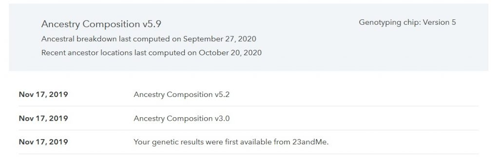 23andme change log what does it mean