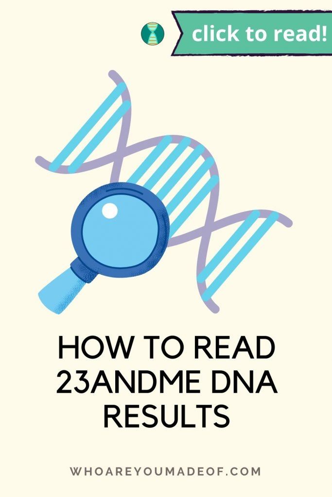 How to Read 23andMe DNA Results Pinterest image with DNA graphic