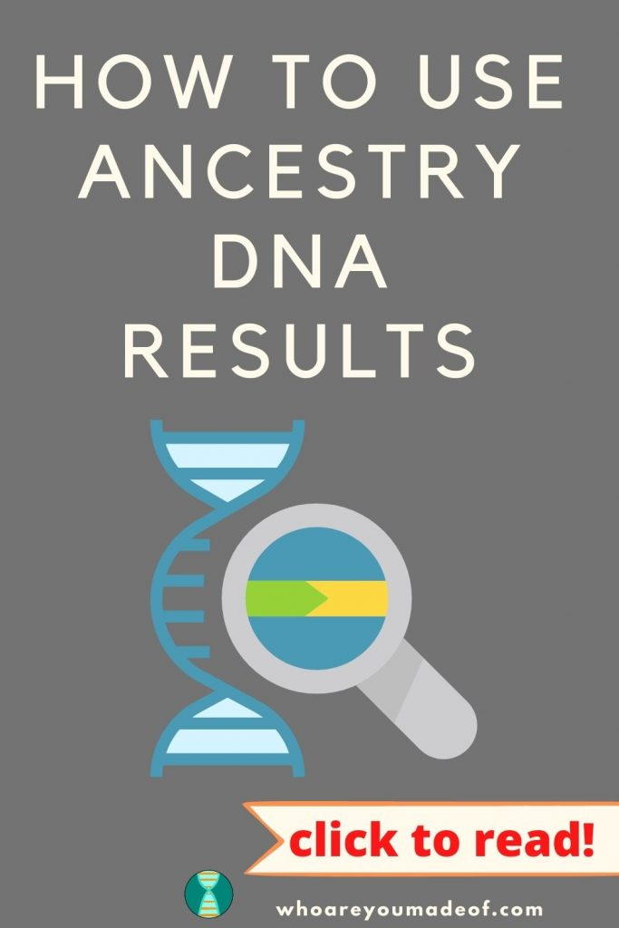 How to use Ancestry DNA results pinterest image with DNA graphic