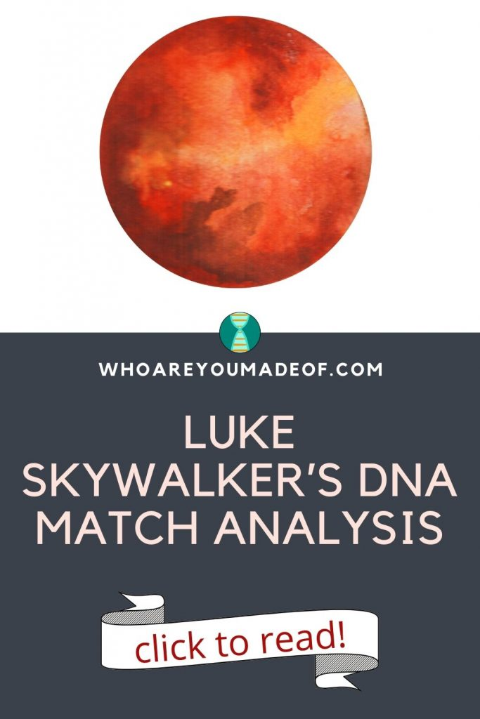 Luke Skywalker's DNA Match Analysis Pinterest Image with a red planet