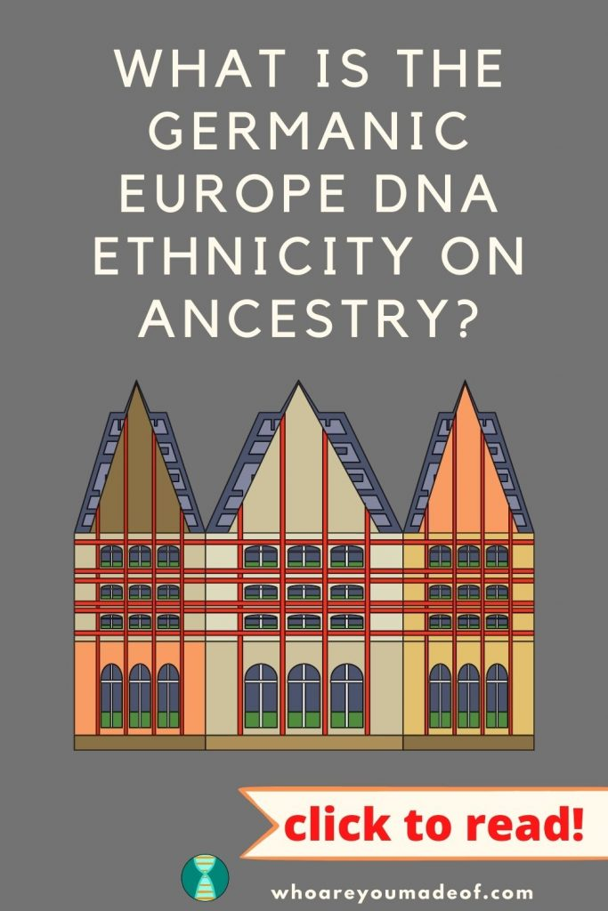 Germanic Europe DNA on Ancestry Pinterest image with graphic of German-type building