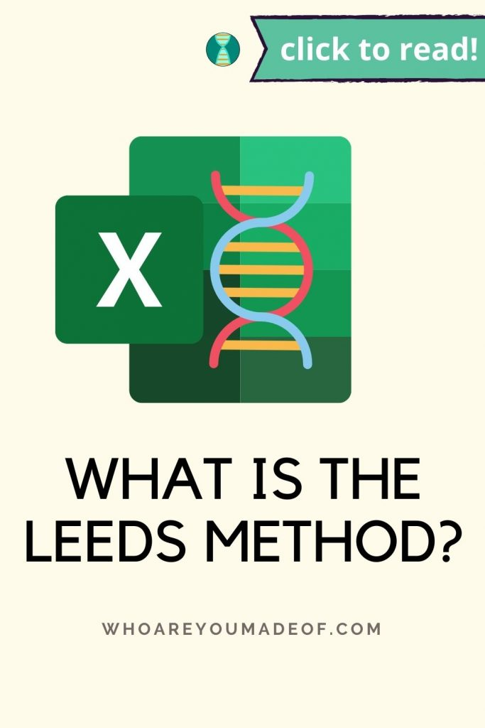 What is the Leeds Method? Pinterest image with spreadsheet and DNA icon
