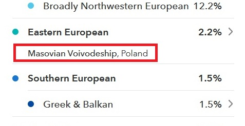 "Shows an example of the recent ancestor location where previously his results said ""Poland"" and now they say that he may have had an ancestor from Masovian Voivodeship in Polamnd"