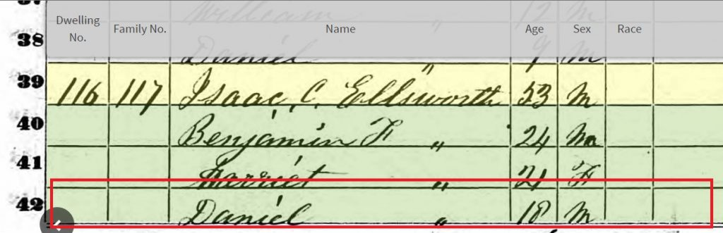 An example of an incorrect name on a US federal census.  Household members on this image are listed as Isaac Ellsworth, Benjamin, Harriet and Daniel.  My ancestor's name was Diana, not Daniel