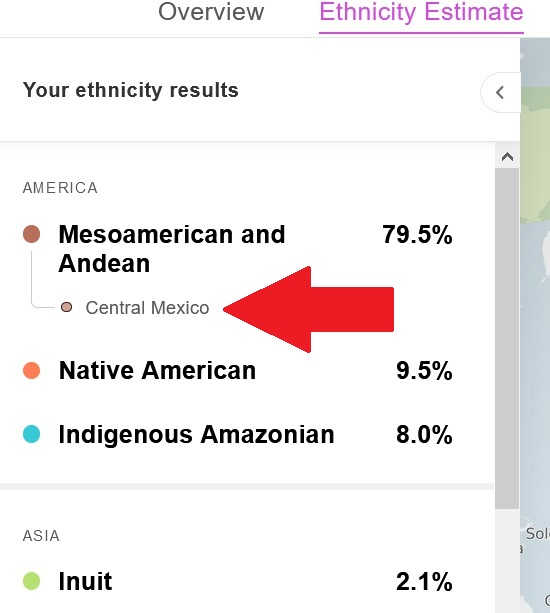 This test taker's DNA matched the Central Mexico Genetic Group