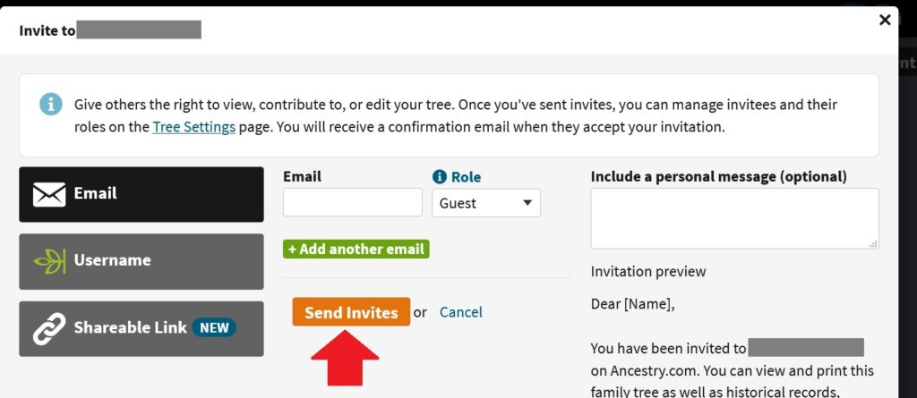 Screenshot from the Ancestry website, shows the Sharing feature for the family tree.  This image shows the e-mail invitation feature, where you enter the email address, choose the role, and then send the invite to the person that you would like to add to your tree