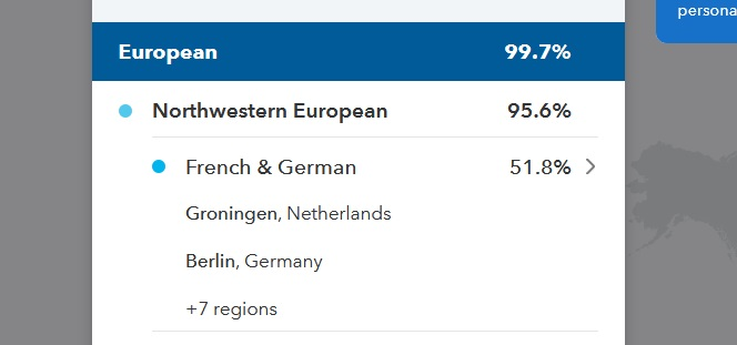 screen capture from my dad's 23andMe results showing that he has 95.6% European DNA with 51.8% matching the French and German region