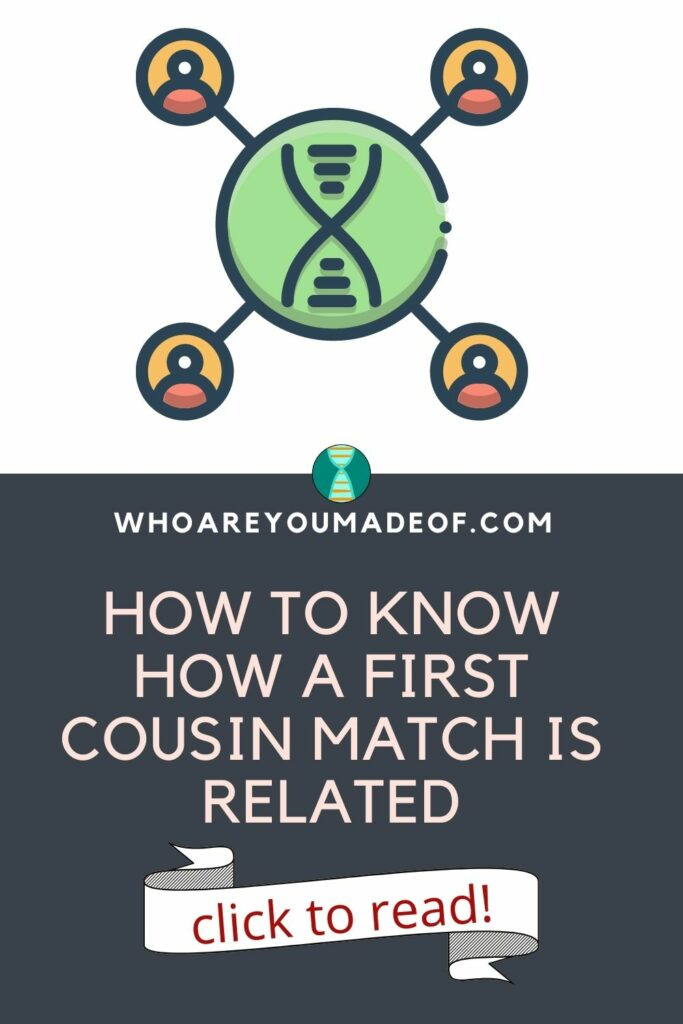 Pinterest image with the article title: How to Know How a First Cousin Match is Related and a graphic showing DNA matches relating to each other