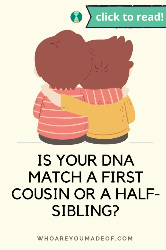 """Pin title of """"Is your dna match a first cousin or half-sibling? along with a graphic of two young siblings embracing, on a pale yellow background"""