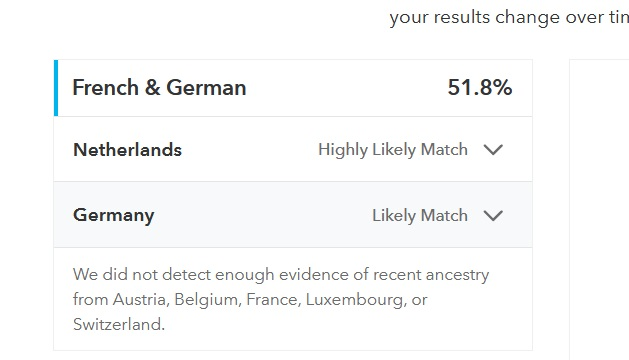My dad's 23andMe results showing 51.8% matching French and German region, with the Netherlands as a highly likely match and Germany as a Likely match