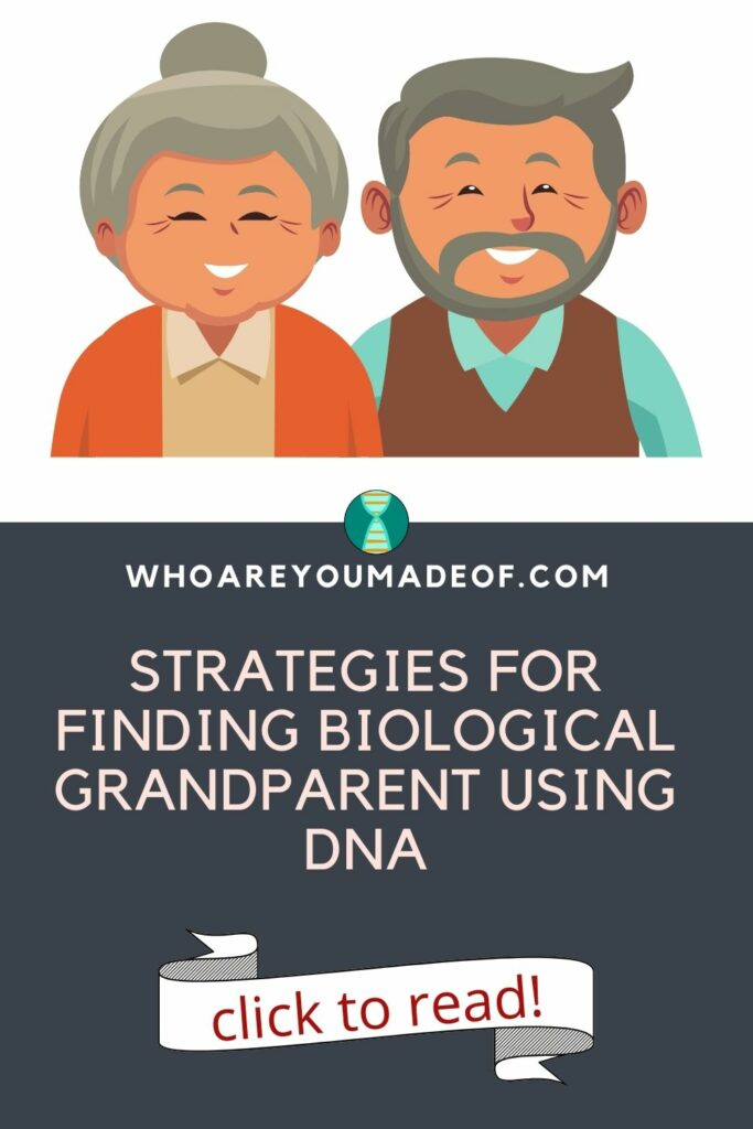 """Pin title of """"Strategies for finding biological grandparent using DNA"""" along with a graphic of two grandparents on a white background"""
