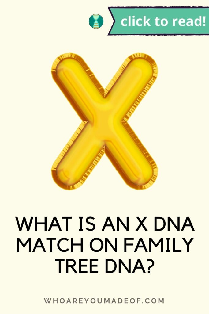 Pin title: What is an X DNA Match on Family Tree DNA?  Decorative golden X