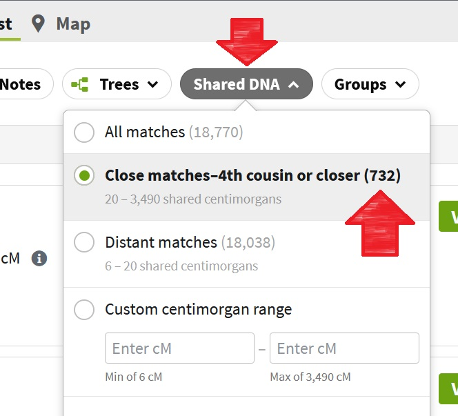screen capture from my DNA match list showing a red arrow pointing to the number of 4th cousin or closer matches that I have (732), as well as the number of distant matches of 18,038