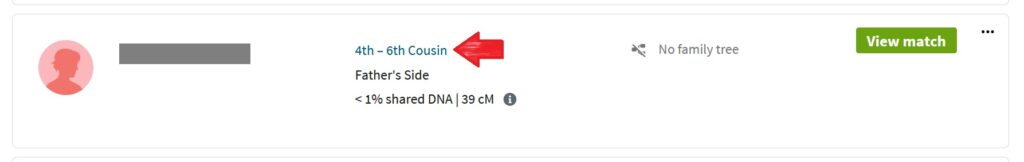 A red arrow points to the blue 4th-6th cousin estimated relationship on my DNA match list