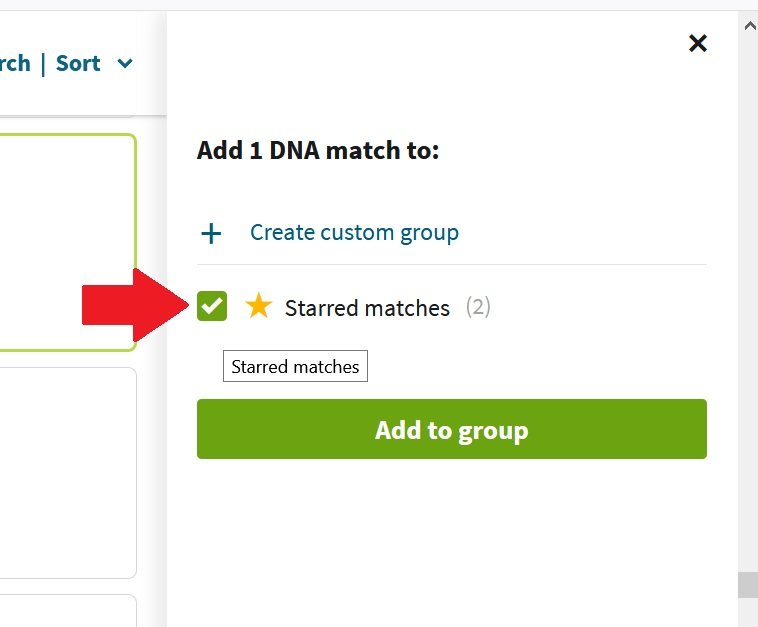 shows where to click to add DNA match to starred matches or a custom group