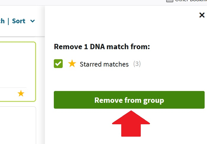 how to remove match from starred matches group