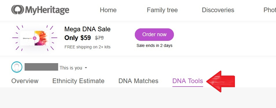 Screenshot from the MyHeritage DNA results overview page where you can access the DNA Tools page as the last tab option
