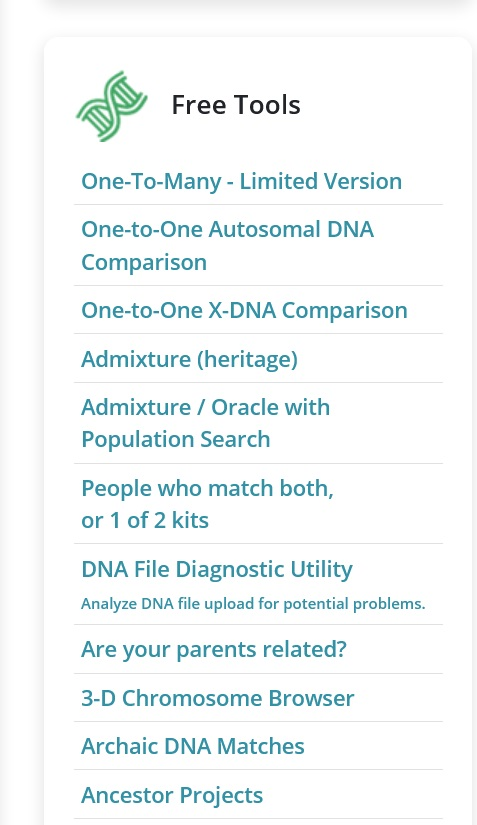 current tools and applications available to use for free on Gedmatch