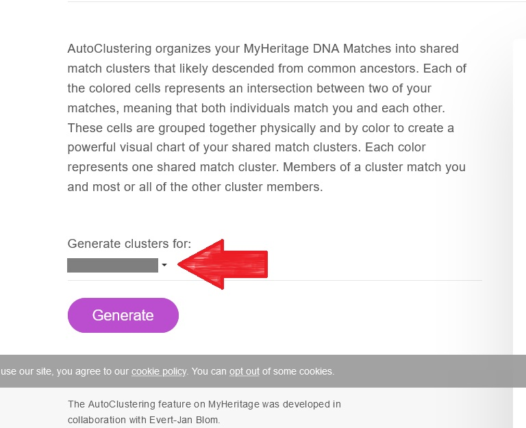 From the MyHeritage site, shows where to click to switch between kits to use the AutoClusters tool