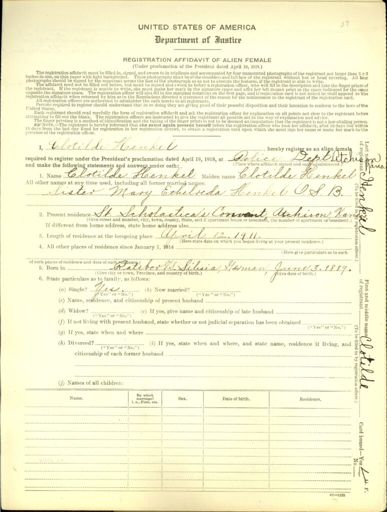 A real sample of a Enemy Alien Registration Affidavits from a foreign-born woman who was required to register