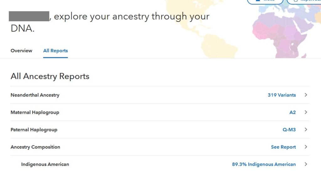 example of all ancestry reports on 23andme for someone born in mexico