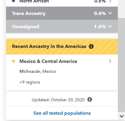 23andMe results Recent Ancestry in the Americas Mexico