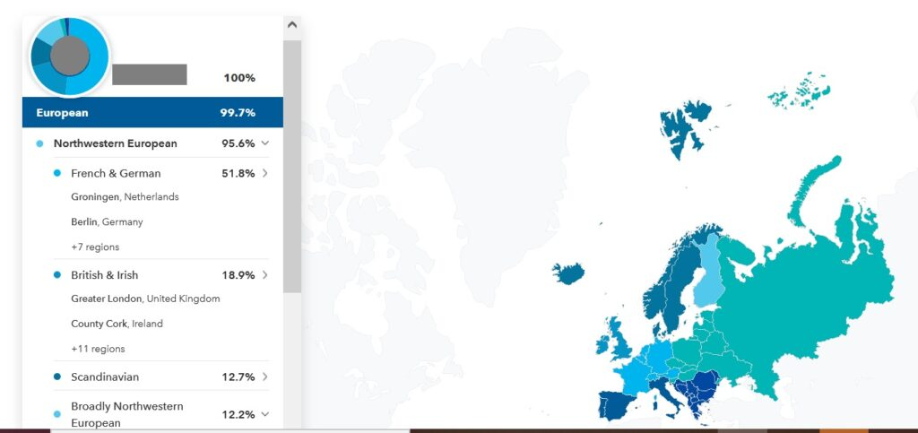 example of mixed european ancestry on 23andme results
