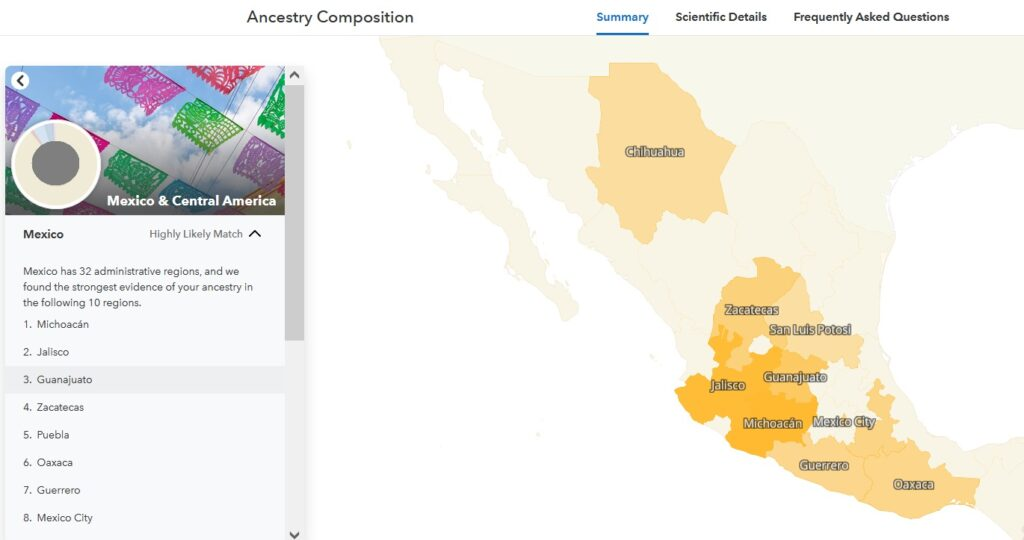 Map of Mexican states most closely matching DNA on 23andMe Recent Ancestry in the Americas