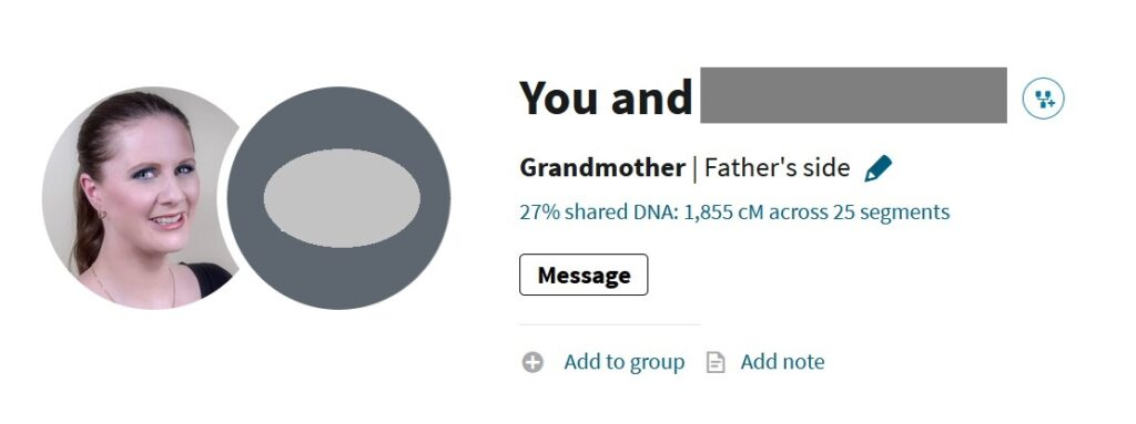 example of how a grandparent DNA might look on AncestryDNA